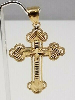 "10k Gold 2"" Inch Cross Pendant In Amazing Condition"