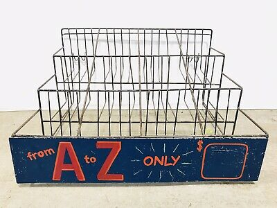 Vintage 1950s Metal Wire Store Display Shop Rack Stand Handpainted Retail Sign