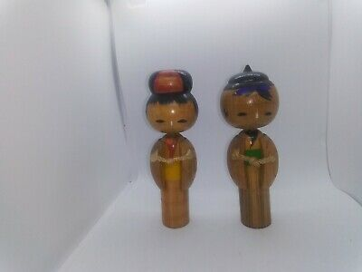 KOKESHI Japanese Dolls vintage antique wooden used 5 inches tall