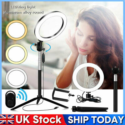 LED Ring Light With Tripod Stand Selfie Stick 8 Inch Dimmable Floor Table Lamp