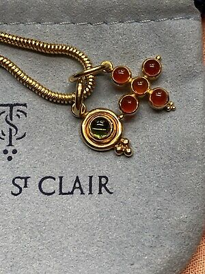 "Temple St Clair Charms With Solid 18k 16"" Snake Chain"