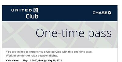 Two (2) United Airlines UA Club Lounge One-Time Passes - Expire May 19, 2021
