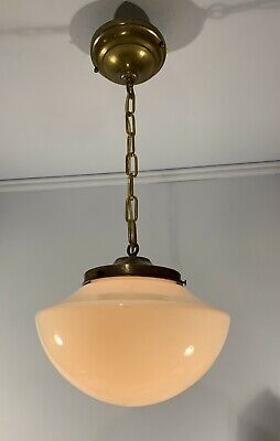"Antique vtg 6"" fitter brass light fixture schoolhouse shade rewired"