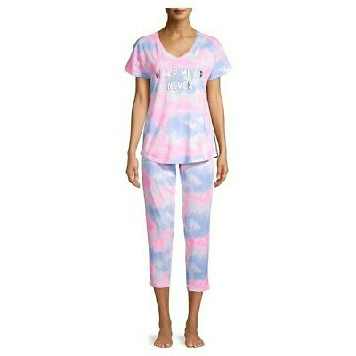Tie Dye Capri Pajama Set XL Sleephirt Short Sleeves Lounge Pants Pajamas NWT