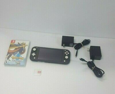 Nintendo Switch Lite Gray With Pokemon Sword & 2 Chargers & 128 GB Micro SD