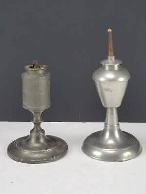 "(2) Antique American Pewter ""Sparking"" Whale Oil Lamps, 19Th Century"