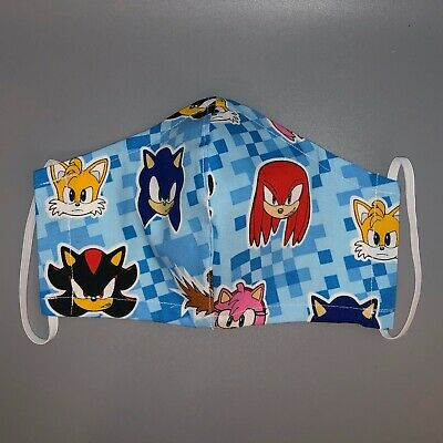 Sonic The Hedgehog Face Mask Cover Cotton Fabric Reusable Handmade Kids 12 99 Picclick