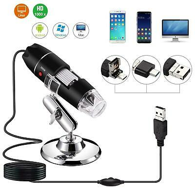 1600X 8LED 2MP USB Digital Microscope Endoscope Camera Magnifier With Stand Y1I5