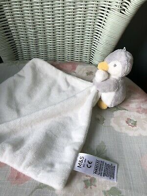 M&S Penguin Comforter Blankie Soft Toy Soother Doudou 06835132 Cream & Grey