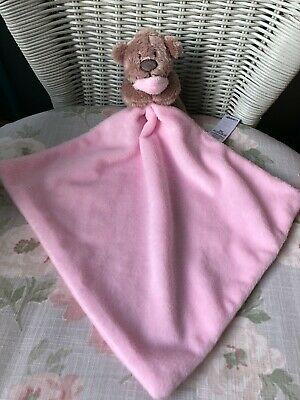 Asda George Teddy Bear Comforter Blankie Soft Toy Soother Doudou Pink