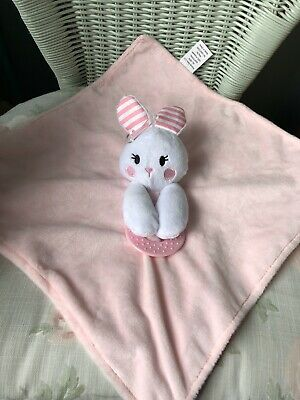 Forever Baby Pink Bunny Rabbit Comforter Blankie Soft Toy Doudou + Teething Ring