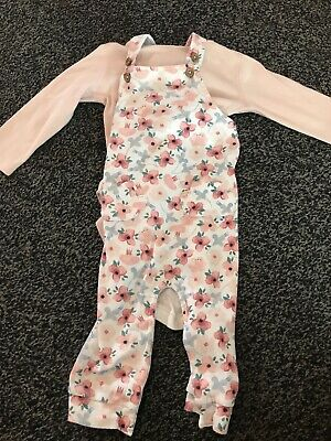 Baby Girls M&S Marks & Spencer Floral Dungaree Vest Set Outfit 6-9 Months