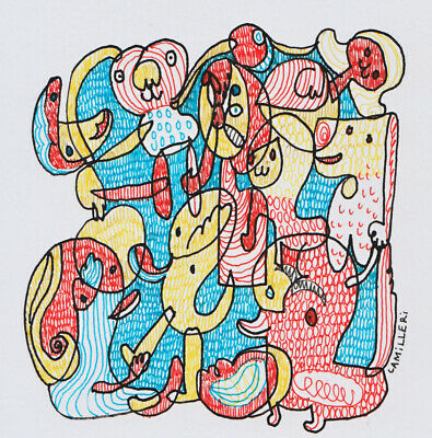 Set Of 2 Original Pen Drawings On Thin Card