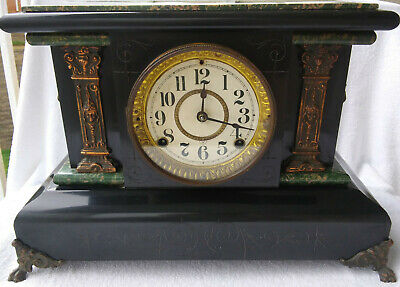 Antique Seth Thomas Adamantine Mantle Clock With Lions Heads, Running & Accurate