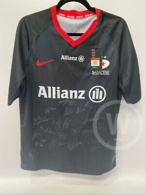 New with tags Signed Nike Saracens Rugby Top, Size Large 19/20 squad.