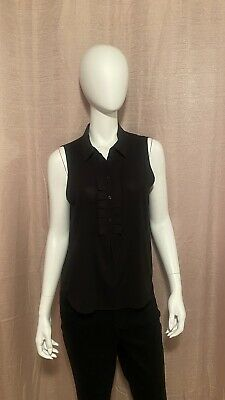 Tommy Hilfiger Women's Size M Black Polyester Blend Sleeveless Pullover Blouse