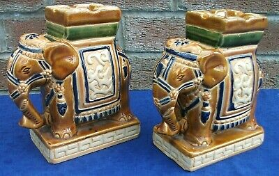 2 Oriental Elephant Incense Burners Plant Pot Stands,set of two,17 cm tall,VGC