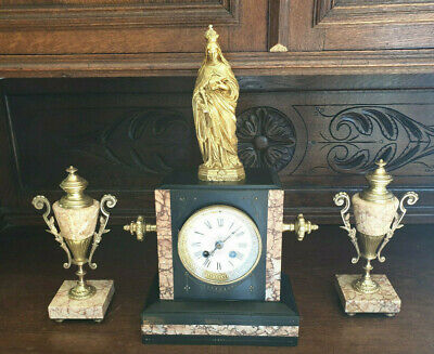 Antique French Mantle Clock And Garnitures