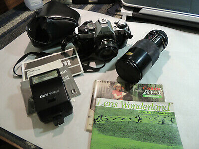 Canon AE-1 Program 35mm SLR w/Case,Strap and Extra Lens - Untested