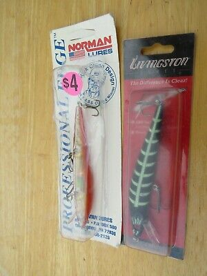 Lot of 2 Jerkbait Fishing Lures New in Packages Norman & Livingston