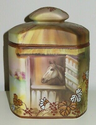 Vintage Hand Painted NIPPON Green Brown Horse Equestrian Design Humidor