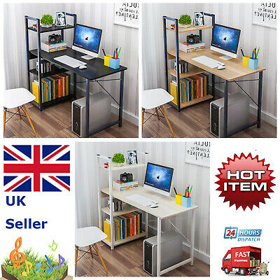 Compact Small 4 Shelve Computer Desk PC Table Home Office Workstation Storage UK