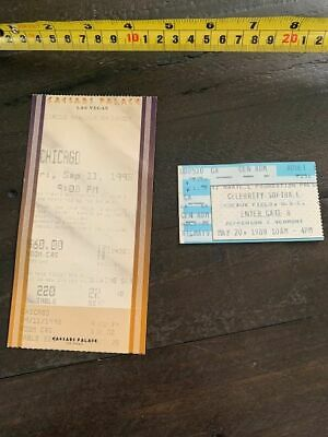 CHICAGO the band Set of 2 Ticket stubs.  1989 Softball game, 1998 Concert