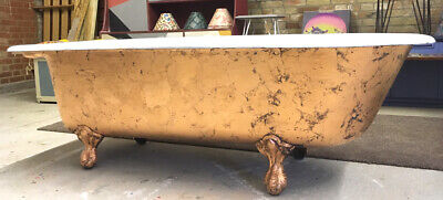 Lovely large vintage upcycled copper cast iron roll top bath with claw feet