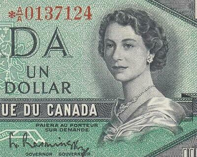 """1954 Bank Of Canada Qeii $1 **Star Note** """"A/A"""" (( Gem Unc ))"""