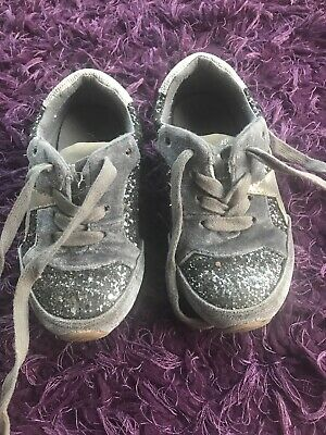 Next Girls Size 9 Sparkly Sequin Trainers Black