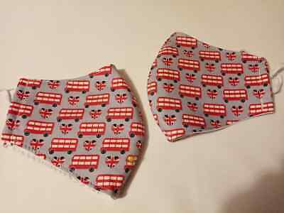 Adult hand crafted face cover, triple layer, London buses print machine washable