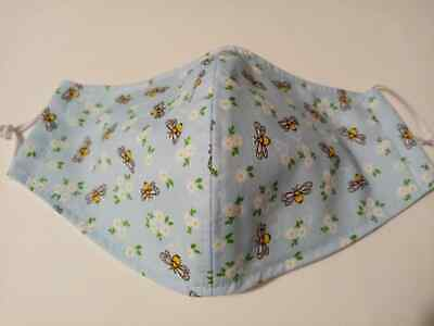 Adult hand crafted face cover triple cotton layer, Bees print - machine washable
