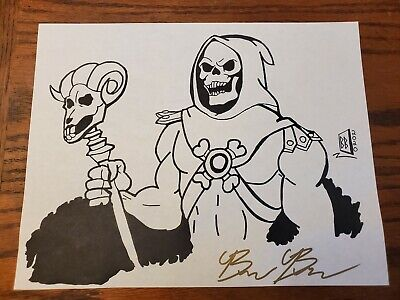 Skeletor Original  Art Drawing Sketch 8.5 X 11 Signed By Brandon Bentfeld