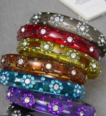 Lot of nice 6 Acrylic Transparent Bangles with Flower Rhinestones - Medium size