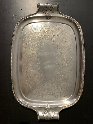 Antique MS EP on Copper Made in England Silver Tea Serving tray