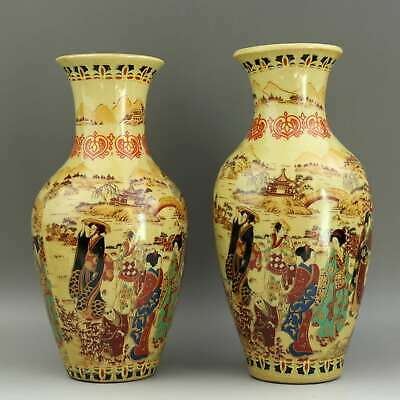 Collect Japan Old Satsuma Ware Handpainted Figure & Scenery Decorate Pair Vase