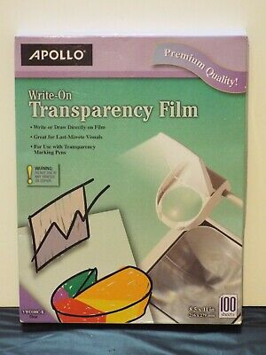 """Apollo Write-on Transparency Film - Letter - 8.50"""" X 11"""" - 100 / Box - Clear"""