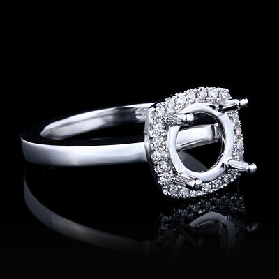 Round 6-8mm Natural Diamond Engagement Wedding Solid 14k White Gold Ring Jewelry