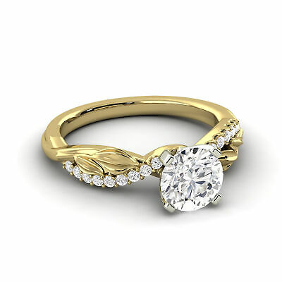1.05 Carat Diamond F Round Shape 14K Yellow Gold Bridal w/Accents Ring Enhanced