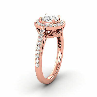 0.86 CTW Round Shaped Diamond Halo Ring D SI1 Mined 14K Rose Gold Enhanced