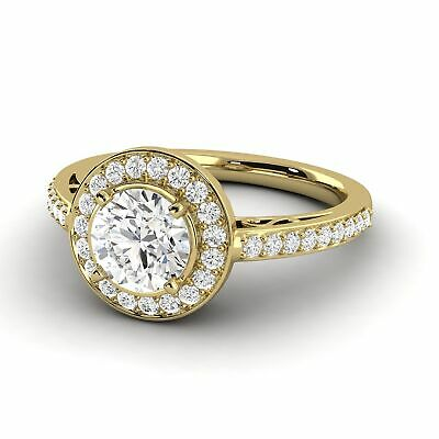 0.84 Ct Round Shaped Diamond Ring D VS2 Mined 14K Yellow Gold Enhanced