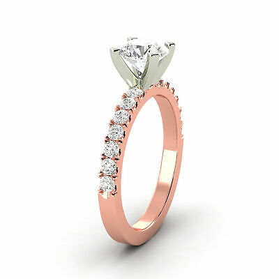 1.16 Carat Natural Diamond G VS2 Round Shape 14K Rose Gold Bridal w/Accents Ring