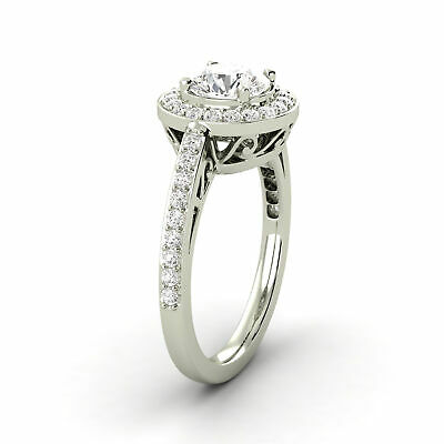 1.26 Carat Round Shaped Diamond Ring D SI1 Natural 14K White Gold Enhanced