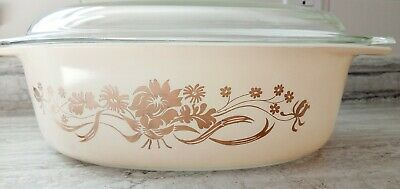 Pyrex Golden Rose Promo  045 2.5 qt with clear lid-Very nice condition!