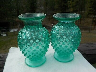 """Hobnail Glass Vases Green/Blue Color 3 3/4"""" Tall"""