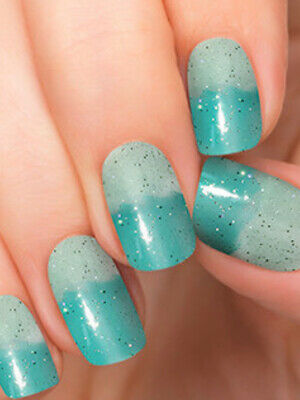 Color Street French Riviera Nail Polish Strips Aqua Blue Glitter Ombre 20 50 Picclick