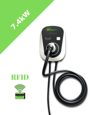 Electric car charging station 7.4kW 32A WIFI EV Wallbox wallpod 5m cable Type 2