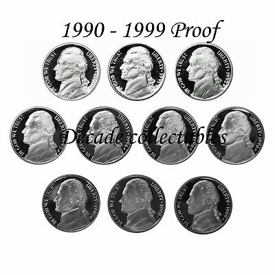 Decade Set FREE SHIPPING !! 1970-1979-S Proof Jefferson Nickels