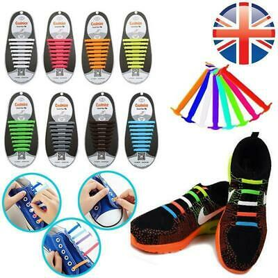 16 PCS Colorful No Tie Shoelaces Rubber Silicone Slip Easy Sneaker Shoe Laces