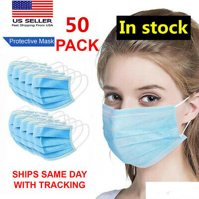 50 PACK Face Mask Disposable 3Ply non Medical